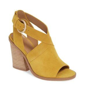 Marc Fisher LTD Vega Mustard Leather Sandal Shoes